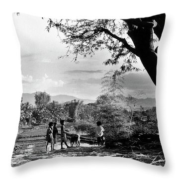 Children Of Central Highland Are Playing With A Dog Throw Pillow