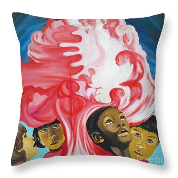 All God's Children.             Children Of The Nuclear Age Throw Pillow