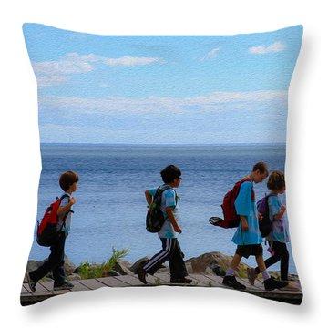 Children On Lake Walk Throw Pillow