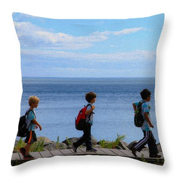 Children On Lake Walk Throw Pillow