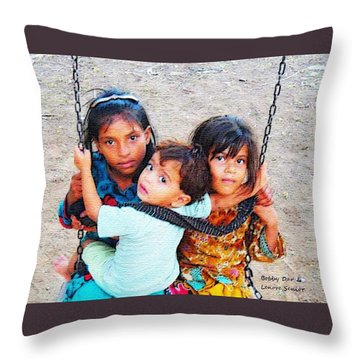 Children On Swing Throw Pillow
