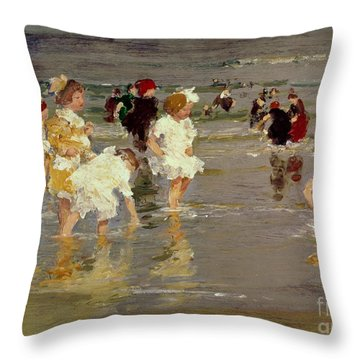 Children On The Beach Throw Pillow
