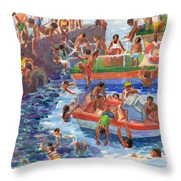 Children Playing At Avarua Wharf  Throw Pillow