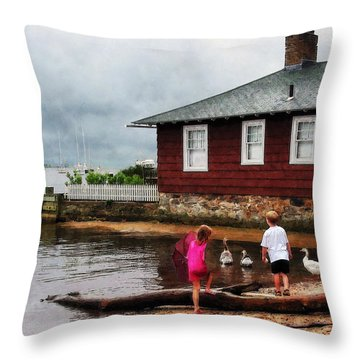 Children Playing At Harbor Essex Ct Throw Pillow by Susan Savad