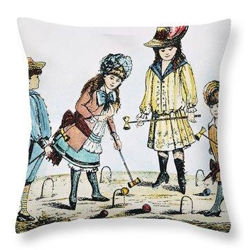Children Playing Croquet Throw Pillow by Granger