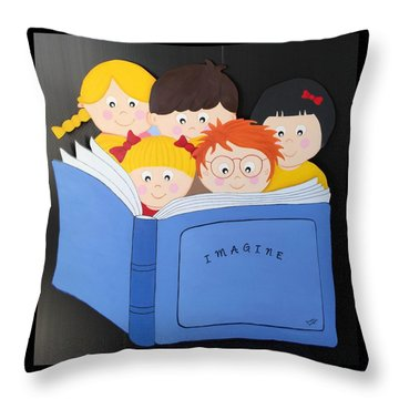 Children Reading Book Throw Pillow
