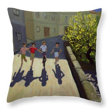 Children Running Throw Pillow by Andrew Macara