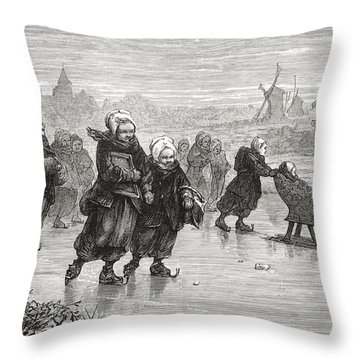 Children Skating To School During The Throw Pillow