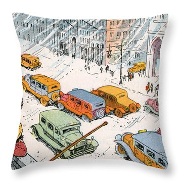 Children Watching City Traffic In A Snowstorm Throw Pillow