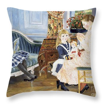 Children's Afternoon At Wargemont Throw Pillow by Pierre Auguste Renoir