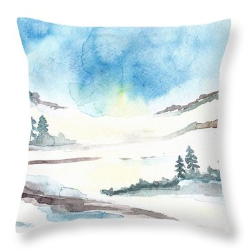 Children's Book Illustration Of Mountains Throw Pillow