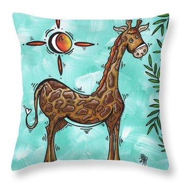 Childrens Nursery Art Original Giraffe Painting Playful By Madart Throw Pillow by Megan Duncanson