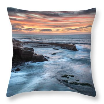 Childrens Pool Fall Sunset Throw Pillow