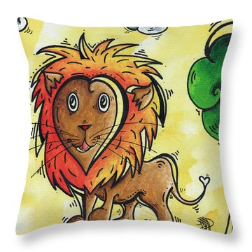 Childrens Whimsical Nursery Art Cutie Pie By Madart Throw Pillow by Megan Duncanson