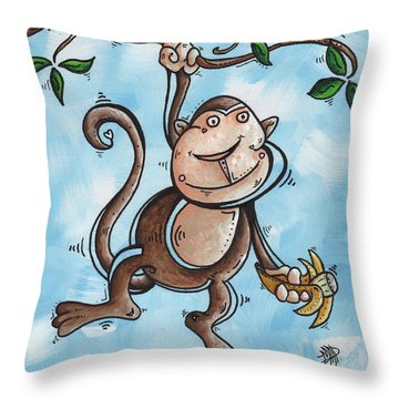 Childrens Whimsical Nursery Art Original Monkey Painting Monkey Buttons By Madart Throw Pillow by Megan Duncanson