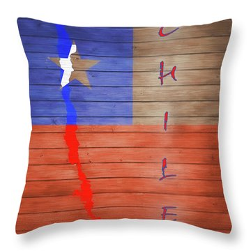 Chile Rustic Map On Wood Throw Pillow