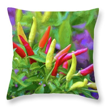 Throw Pillow featuring the photograph Chili Pepper Art by Kerri Farley
