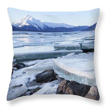 Chilkat River Ice Chunks Throw Pillow