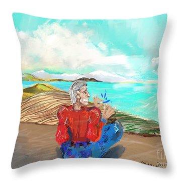 Chillin' Caricature Joe Throw Pillow