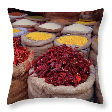 Chilliy Peppers Throw Pillow by Mini Arora