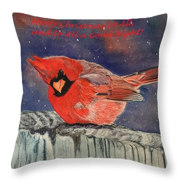 Chilly Bird Christmas Card Throw Pillow