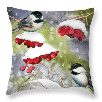 Chilly Chickadees Throw Pillow