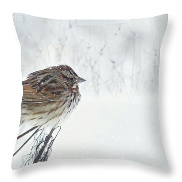 Throw Pillow featuring the mixed media Chilly Song Sparrow by Lori Deiter