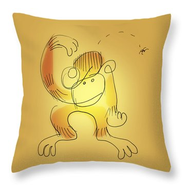 Throw Pillow featuring the drawing Chimp And Bug by Keith A Link