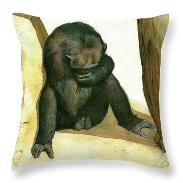 Chimp Throw Pillow by Juan Bosco