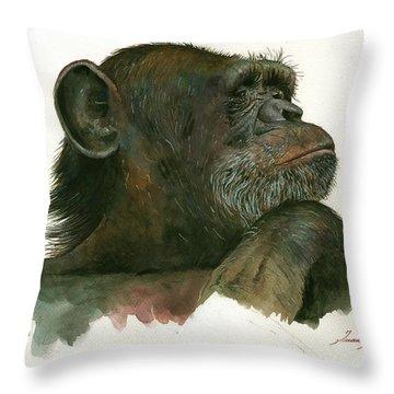 Chimp Portrait Throw Pillow