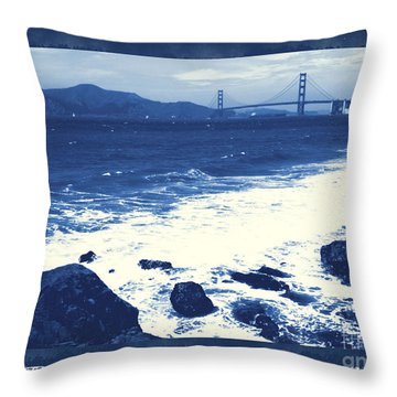 China Beach And Golden Gate Bridge With Blue Tones Throw Pillow by Carol Groenen
