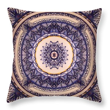 Throw Pillow featuring the painting China Blue by Kym Nicolas