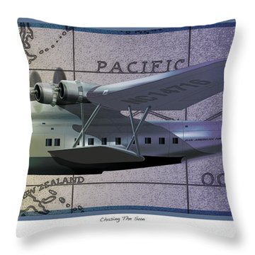 Throw Pillow featuring the drawing China Clipper Chasing The Sun by Kenneth De Tore