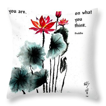 China Garden With Buddha Quote Throw Pillow