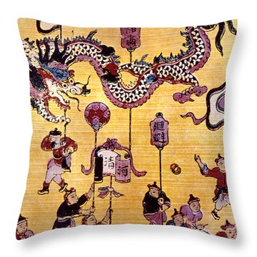 China: New Year Card Throw Pillow by Granger