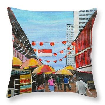 China Town Singaporesg50 Throw Pillow