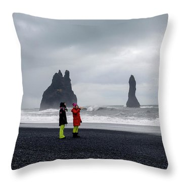 Throw Pillow featuring the photograph China's Tourists In Reynisfjara Black Sand Beach, Iceland by Dubi Roman