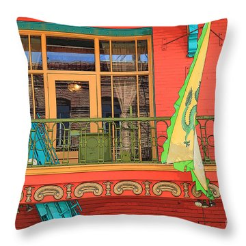 Throw Pillow featuring the photograph Chinatown Balcony by Jeanette French