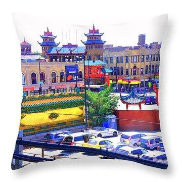 Chinatown Chicago 1 Throw Pillow by Marianne Dow