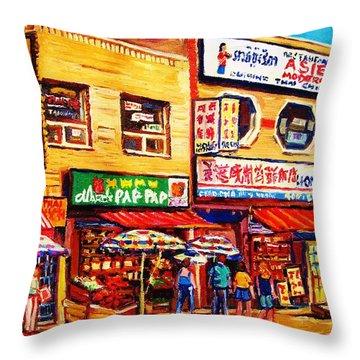 Chinatown Markets Throw Pillow by Carole Spandau
