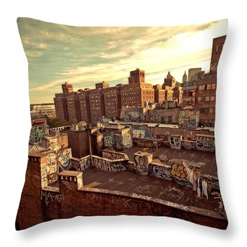 Chinatown Rooftop Graffiti And The Brooklyn Bridge - New York City Throw Pillow by Vivienne Gucwa