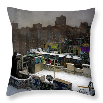 Throw Pillow featuring the photograph Chinatown Rooftops In Winter by Chris Lord