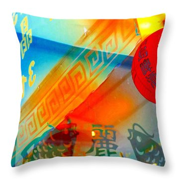 Throw Pillow featuring the photograph Chinatown Window Reflection 3 by Marianne Dow