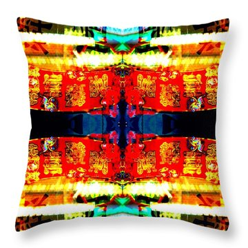 Throw Pillow featuring the photograph Chinatown Window Reflection 5 by Marianne Dow