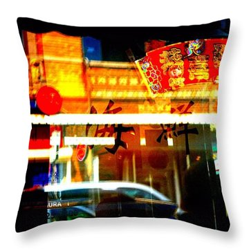 Throw Pillow featuring the photograph Chinatown Window Reflections 2 by Marianne Dow