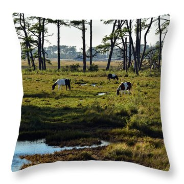 Chincoteague Ponies Throw Pillow