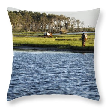 Throw Pillow featuring the photograph Chincoteague Ponies On Assateague Island by Belinda Greb