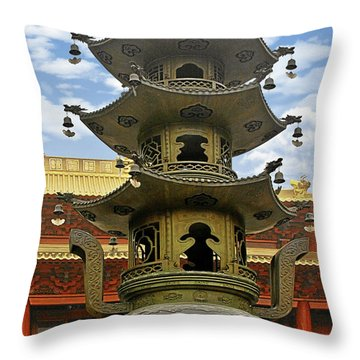 Chinese Ancient Relics - Bronze Cauldron Jing'an Temple Shanghai Throw Pillow by Christine Till