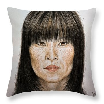 Chinese Beauty With Bangs Throw Pillow