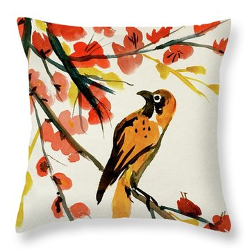Chinese Bird With Blossoms Throw Pillow